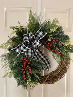 I love to make my own wreaths but when I don't have time, my first place to look is Etsy. You can find so many unique and gorgeous wreaths on Etsy. Grapevine Christmas, Red Christmas Ornaments, Christmas Wreaths For Front Door, Christmas Door Decorations, Etsy Christmas, Holiday Wreaths, Rustic Christmas, Christmas Crafts, Grapevine Wreath