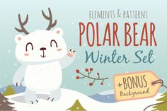 Polar Bear Winter Set by SunnyWS on @creativemarket
