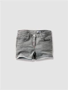 Girl's Denim Shorts GREY MEDIUM  ALL OVER PRINTED - vertbaudet enfant