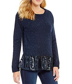 Copper Key Sequin Hem Sweater #Dillards