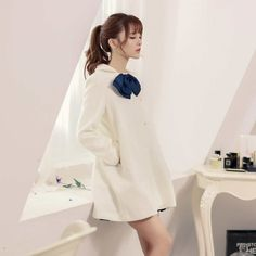 Japanese Style - Bow wool long coat