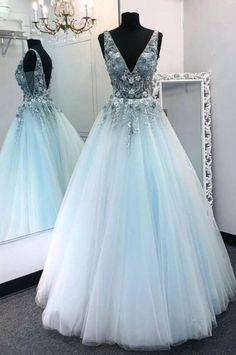 Pretty Prom Dresses, Blue Evening Dresses, Prom Dresses Blue, Ball Dresses, Cute Dresses, Beautiful Dresses, Light Blue Formal Dresses, Blue Lace Prom Dress, Lavender Prom Dresses