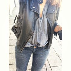 perfect! drapey top, loose soft rich leather jacket
