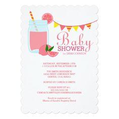 "Pink Lemonade Baby Shower 5"" X 7"" Invitation Card"
