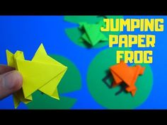 Origami Jumping Paper Frog   Fun Paper Crafts for Kids - YouTube Oragami, Origami Art, Paper Crafts For Kids, Easy Crafts For Kids, Magic Tricks For Kids, Make A Game, Craft Work, Paper Goods, Lily
