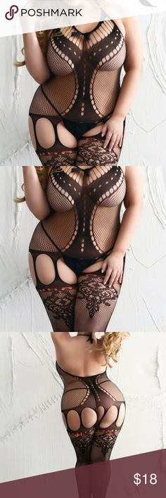 8ea528b836 PLUS SIZE BODYSTOCKING LINGERIE Sheer lace and fishnet bodystocking. This  all-in-one