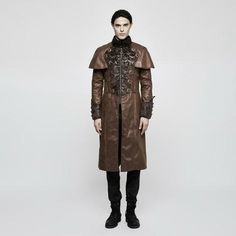 Rebelsmarket brown steampunk vintage style cape coat for men y 802 mco coats 5 Steampunk Jacket, Steampunk Cosplay, Steampunk Clothing, Steampunk Fashion, Steampunk Characters, Types Of Coats, Punk Rave, Cape Coat, Clothing Items