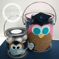 clear pail owl grad party centerpieces