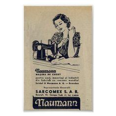 Anúncio da máquina de costura do vintage 1940, rom poster