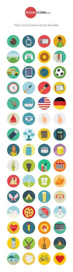 Flat Round Icons Bundle | GraphicBurger #flat #icons