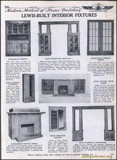 1917 Lewis Built Homes Craftsman Built In, Craftsman Fireplace, Craftsman House Plans, Craftsman Homes, Craftsman Furniture, Craftsman Interior, Built In Furniture, Bungalow Decor, Bungalow Interiors