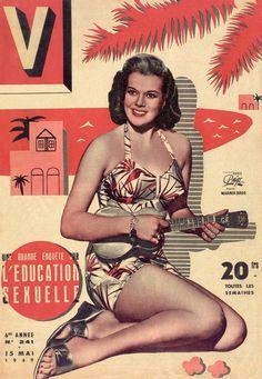 V Magazine - Janis Paige, Hawaiian print bikini color photo print ad model magazine vintage fashions style bathing suit floral 40s 50s