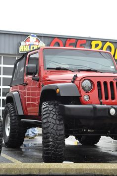 "2014 Jeep Wrangler upgraded at Axleboy with a new 3"" Terafles CT3 lift, 37"" STT Pro tires and Falcon Shocks.  Next mod? We're thinking GenRight tube fenders. ______________________________________ #Axleboy #offroad #jeepshop #ofallon #stlouis #stl #jeep #wrangler #redjeep #red #4x4 #built #4wd #jeeplife #jeepbeef #jeepthing #olllllllo #kcco #teraflex #ct3 #falconshocks"