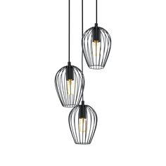 Composición de tres lámparas a distintas alturas con bombilla vista fabricada en acero lacado en negro.