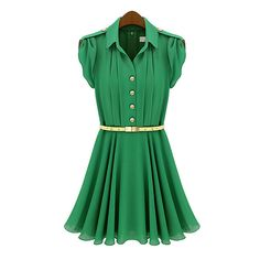 Wholesale Pleated Lapel Collar Short Sleeves Solid Color Chiffon Ladylike Style Dress For Women