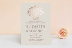 """""""Enchanted"""" - Monogrammed, Rustic Foil-pressed Wedding Invitations in Maple by Griffinbell Paper Co.."""