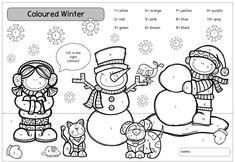 Winterliche Färbeübung für Englisch Für die Englisch-Freiarbeit habe ich dieses Arbeitsblatt mit einem winterlichen Motiv erstellt, das...