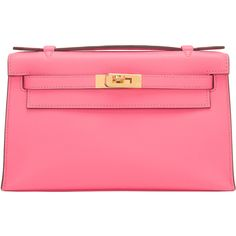 Pre-Owned Hermes Rose Azalea Swift Mini Kelly Pochette ($11,675) ❤ liked on Polyvore featuring bags, handbags, pink, mini handbags, pink handbags, mini purse, leather handbags and rose purse