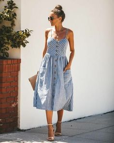 Midi Dress Outfit, Summer Dress Outfits, Casual Summer Dresses, Skirt Outfits, Cute Outfits, Casual Summer Style, Casual Dressy, Casual Dress Outfits, Dress Summer