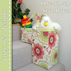 Stair basket - I have figured out the design to be done on cardboard and hodgepodged  with material of choice.