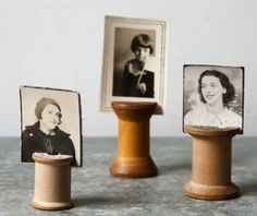 wooden spool picture holders » Fun for weddings and parties too!
