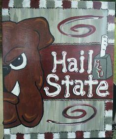 Hail State! Football Canvas, Msu Football, College Football, Canvas Door Hanger, Wooden Door Hangers, Mississippi State Football, Football Paintings, State Canvas, Bulldog Mascot