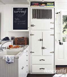 Dempster had the refrigerator made by Antique Vintage Appliances, in Tucson, to look like an old icebox.  Beach House Decor Ideas - Nautical Decorating Ideas - House Beautiful
