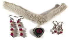 Necklace and Earring Set, Jewelry Set, White Crochet Choker and Earrings, Women's Jewelry, Holiday Accessories, Women's Gifts, Accessories by DivinitysDivineTouch on Etsy