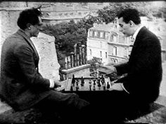 Marcel Duchamp and Man Ray playing chess