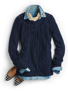 Cut in a simple pullover shape, chic Aran stitching modernizes the look of classic cables to refresh this must-have cold-weather staple. Preppy Outfits, Preppy Style, Fashion Outfits, My Style, Fashion Shirts, Fashion Clothes, Classic Style, Fall Winter Outfits, Autumn Winter Fashion