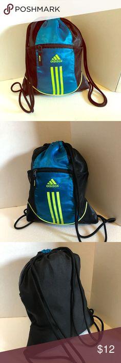 b1cf58dd62 Adidas Drawstring Gym Bag Adidas Drawstring Bag perfect condition no stains  no flaws blue with neon green logo and black adidas Bags Backpacks