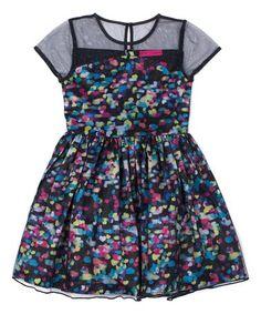 Black & Pink Heart Sheer-Accent A-Line Dress - Toddler & Girls #zulily #zulilyfinds