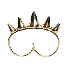 Tanya Double Spiked Ring ($12) ❤ liked on Polyvore featuring jewelry, rings, accessories, fillers, spike bracelet, bracelet jewelry, studded bracelet, cuff ring and pendant jewelry