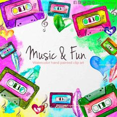 Cassette clipart cassette watercolor music watercolor clipart music 80s girly music clip music diy invitations san valentines music theme