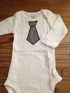 Infant Boy Onesie with Necktie Applique by MarysCottonShoppe on Etsy