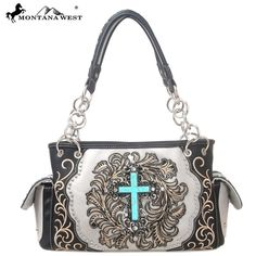 Montana West Handbag Cross Spiritual Collection  Satchel Purse Black #MontanaWest #ShoulderBag