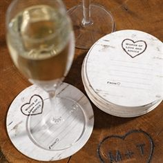 Wood Grain Design Well Wishes Coaster Cards :: Perfect for collecting words of love and advice from wedding guests.