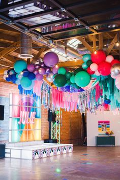To commemorate this bat mitzvah ceremony, we converted an LA warehouse space into a party as bright and vibrant as the guest of honor herself. Balloon Decorations, Birthday Party Decorations, Birthday Parties, Bat Mitzvah Themes, Bat Mitzvah Party, Streamer Backdrop, Backdrops, Balloons Galore, Balloon Garland