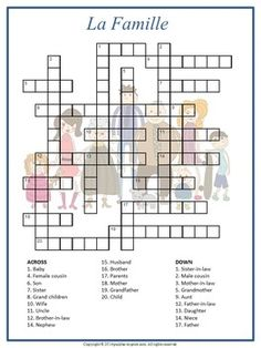 Use this fun crossword puzzle to learn and review the names of family members in…