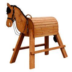 """Ein Pferd für alle Fälle! Pferd """"Tina"""" Damit fing alles an: Das Holzpferd mit einem Stockmaß von 115 cm ist sozusagen das Urpferd unserer Manufaktur und eignet sich ideal für Kinder ab sieben Jahren. Absolut robust, standfest... Craft Jobs, Wood Crafts, Diy Crafts, Mini Pony, Wooden Horse, Hobby Horse, Wheelbarrow, Garden Tools, Rocking Horses"""