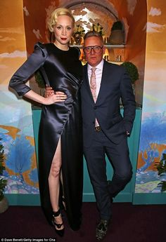 Strike a pose: Star Wars star Gwendoline Christie and Giles Deacon made quite the quirky d...