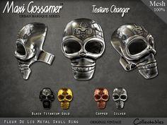 Maxi Gossamer Rings - Fleur De Lis Skull Rings - 4 Metals