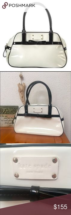 """KATE SPADE Bon Vivant Mini Simone satchel This kate spade satchel in the style """"bon vivant 'mini simone' satchel"""" in white with black accents and 14kt gold plated hardware. 11""""W x 7""""H x 5 1/2""""D. (Measures small.)  High-shine patent leather. Boxy small white satchel with black bow. * Top zip closure. * Interior zip and wall pockets. * Dot Jacquard lining. Strap drop: 8"""".  Authentic kate spade.   Near perfect used condition. No holes or rips, no cracking or peeling. Pics of faint scuffs and…"""
