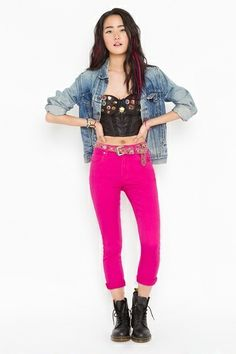 Like this edgy look ! Fuschia Pants with black cropped top and denim shirt!