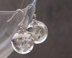 Graines de pissenlit graines de pissenlit réel boucles d'oreilles - Boucles d'oreilles cristal boule en résine-