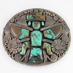 Jimmy Victor Begay (Navajo) Sterling & Turquoise Knifewing Belt Buckle