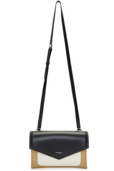 5e7ee7b1ab Buffed and grained calfskin shoulder bag colorblocked in black