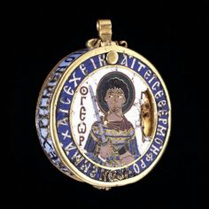 File:Gold and enamel pendant reliquary Byzantine, 13th century AD From Thessaloniki, Greece St George and St Demetrius.jpg