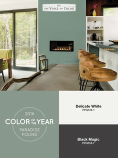 Earthy & Understated: Our Color Of The Year, Paradise Found helps bring the outdoors in with a natural color palette. Here natural materials are mixed in with more industrial elements. Available @ Caddo Paint Exterior House Colors, Exterior Paint, Exterior Shutters, Green Paint Colors, Kitchen Paint Colors, Nature Color Palette, Paradise Found, Dream Rooms, Color Of The Year