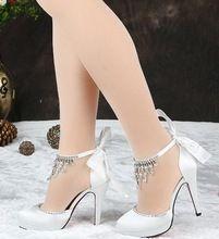 Tacones altos de la novia bowknot rojo zapatos de boda cristalino blanco del diamante damas de honor casaron zapatos de mujer. envío gratis(China (Mainland))